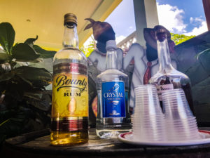 Popular St. Lucian rums displayed a top a barrell.