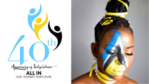 banner with 40th independence logo and woman face painted with color of the st. Lucian flag